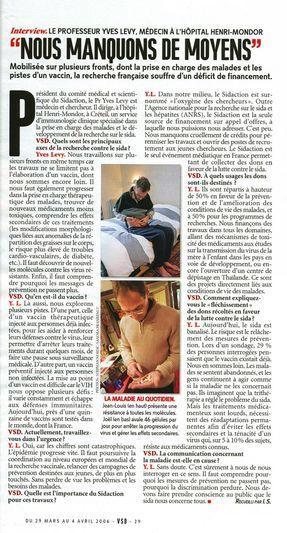 VSD : reportage magazine (sida) - sujets société.