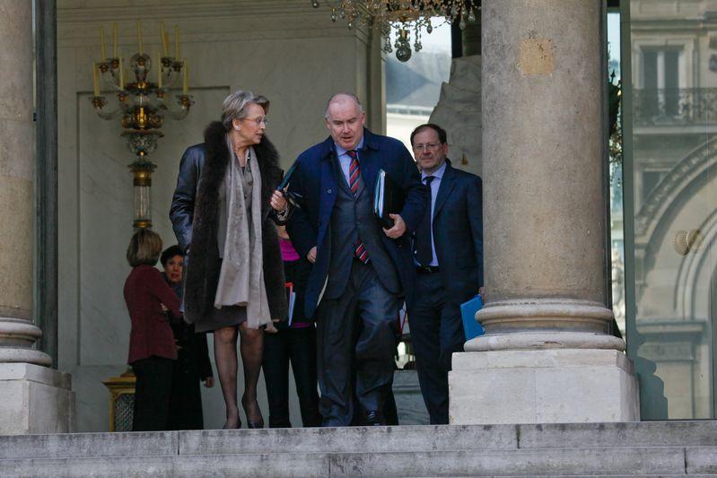 Michele ALLIOT-MARIE, Ministre de l Interieur, de l Outre-mer et des Collectivites territoriales, et Dominique BUSSEREAU, secretaire d Etat charge des Transports. Credit Norsic/face to face