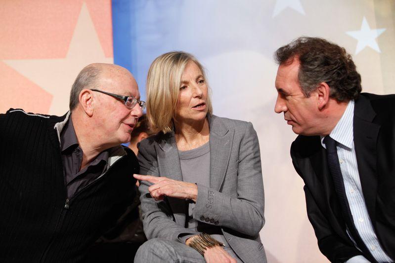 Francois Bayrou, president du Modem, Marielle de Sarnez, vice-presidente du Modem, et Jean-Francois Kahn